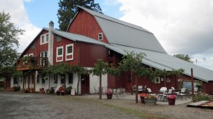 The 1915 English barn is home to their casual Loafing Shed Tasting Room. English Estate Winery