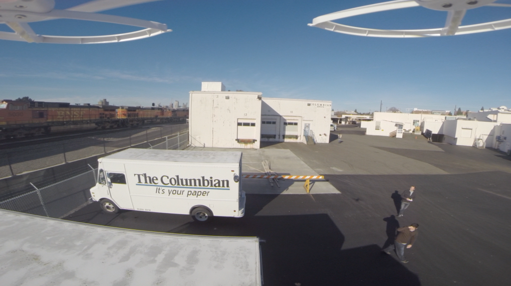 Columbian Web Editor John Hill test flies a drone behind The Columbian building in November.